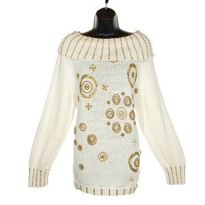 VINTAGE Oversized Sweater 80s Beaded Cream Gold